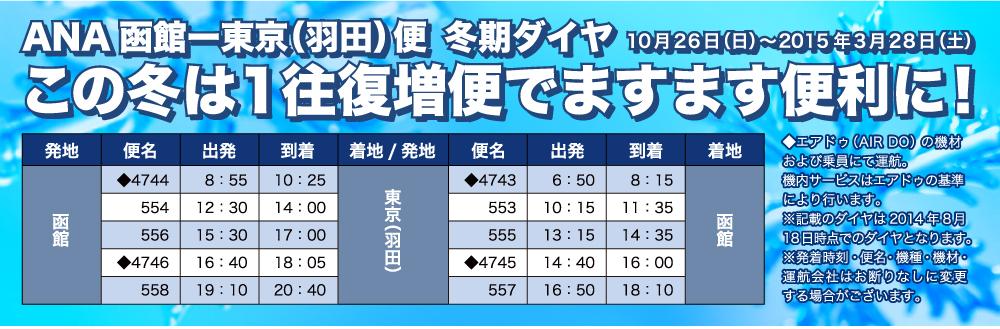 ANA函館ー東京(羽田)便 冬期ダイヤ 10月26日(日)?2015年3月28日(土)<br /> この冬は1往復増便でますます便利に!