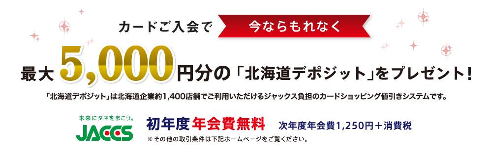 今ならもれなく最大5,000塩分の「北海道デポジットをプレゼント!