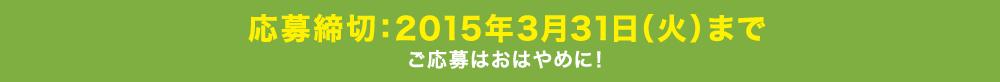 応募締切:2015年3月31日(火)まで ご応募はおはやめに!